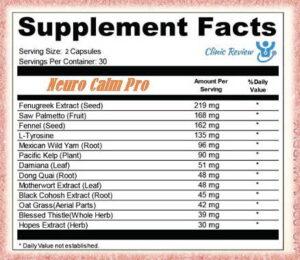 Ingredients Neuro Calm Pro Tinnitus